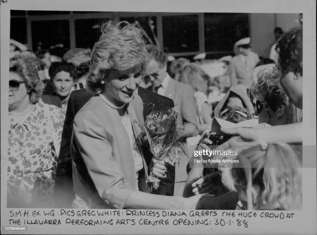 Princess Diana greets the huge crowd at the Illawarra performing arts centre opening. : News Photo