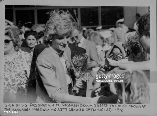 Princess Diana greets the huge crowd at the Illawarra performing arts centre opening January 30 1988