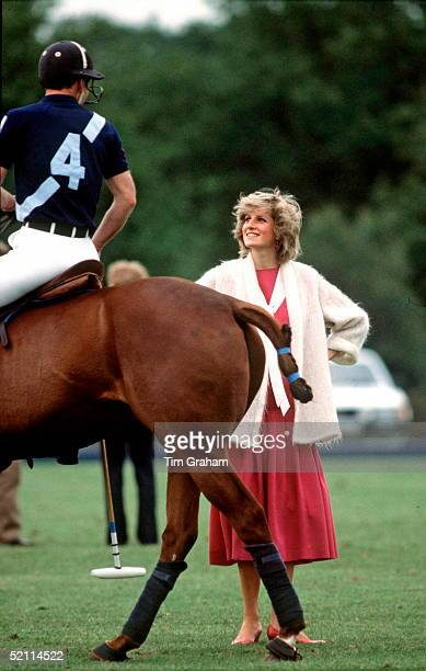 Princess Diana Happy And Smiling As She Talks To Her Husband Prince Charles As He Rides Past On His Polo Pony At Guards Polo Club In Windsor