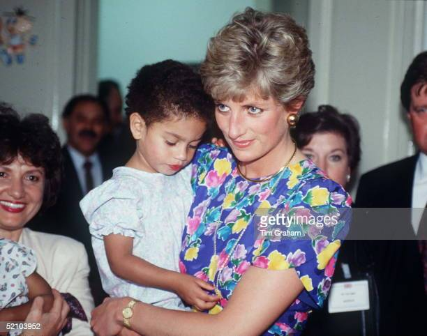 Princess Diana Holding A Young Child At Febem Hostel For Abandoned Children Many Of Them Hiv Positive In Sao Paulo Brazil