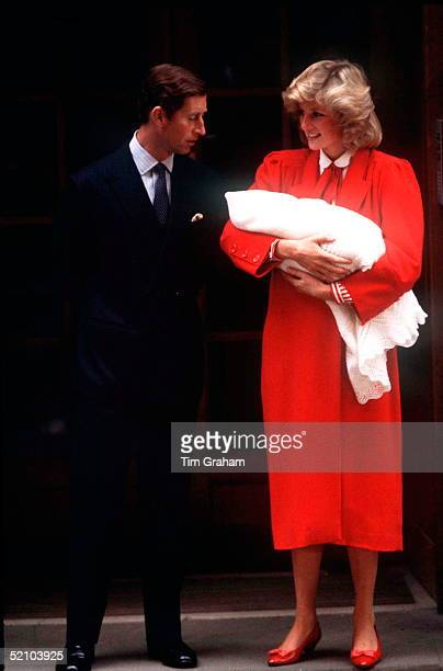 Princess Diana Holding Baby Prince Harry As She And Prince Charles Leave St Marys Hospital In London