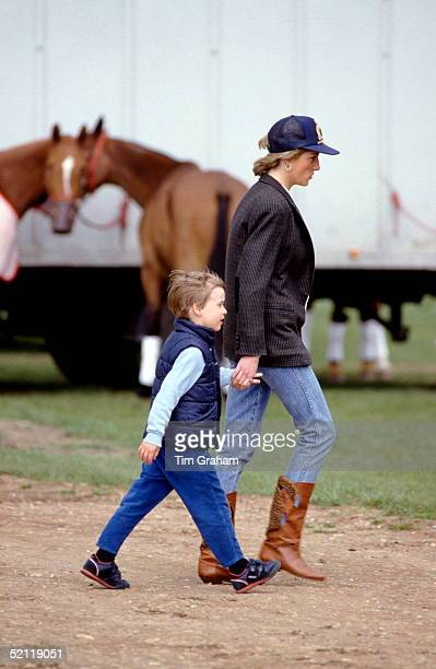 Princess Diana Holding Hands With Prince William At Polo