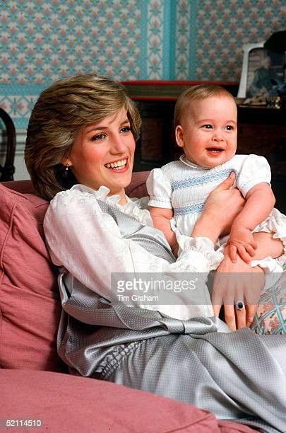 Princess Diana Holding Her Baby Son Prince William At Kensington Palace