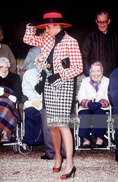 Princess Diana Holding Onto Her Hat At Sandringham While Meeting Disabled People In Wheelchairs Who Have Come To See The Royal Family