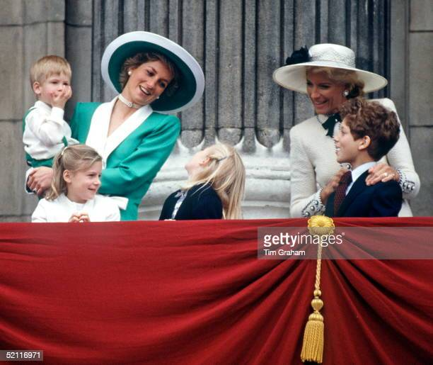 Princess Diana Holding Prince Harry At The Trooping The Colour Ceremony She Is Talking To Lady Davina Windsor Also In The Picture Lady Rose Windsor...