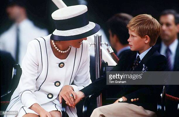 Princess Diana Holding Prince Harry's Hand Whilst Watching The Parade Of Veterans On V J Day The Mall London