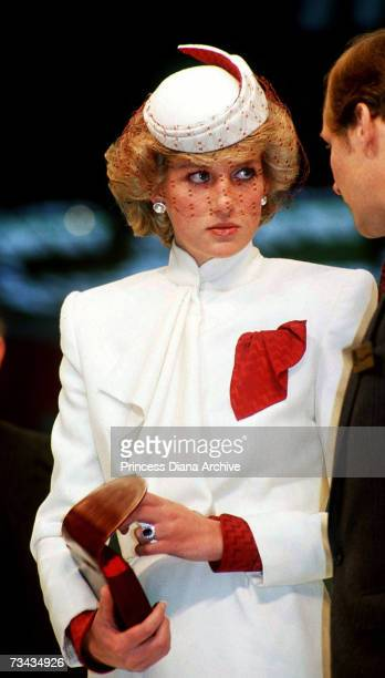 Princess Diana in a cream suit by Bruce Oldfield at the World Travel Fair at Olympia London November 1985