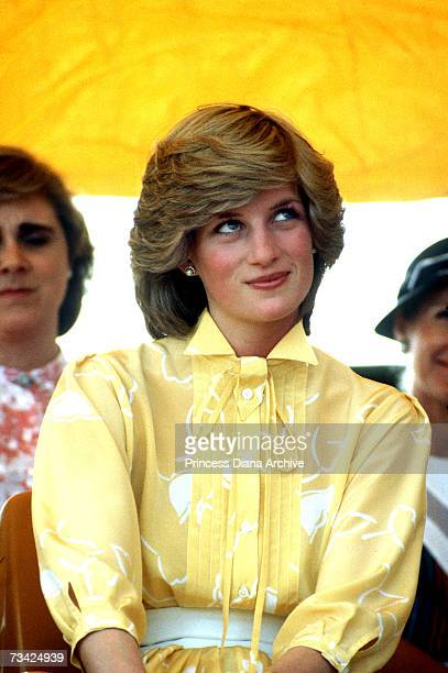Princess Diana in Alice Springs Australia 21st March 1983 She is wearing a dress by Jan van Velden