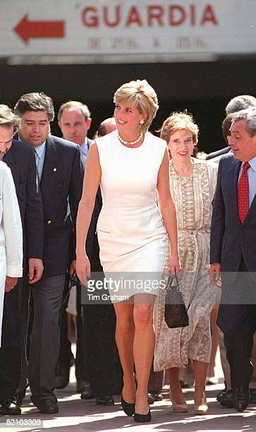 Princess Diana In Argentina She Is Wearing A Dress Designed By Fashion Designer Versace