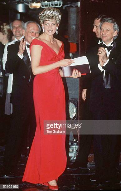 Princess Diana In Budapest Hungary Attending A Gala Performance By The English National Ballet At The State Opera House Wearing A Bright Fuchsia Pink...