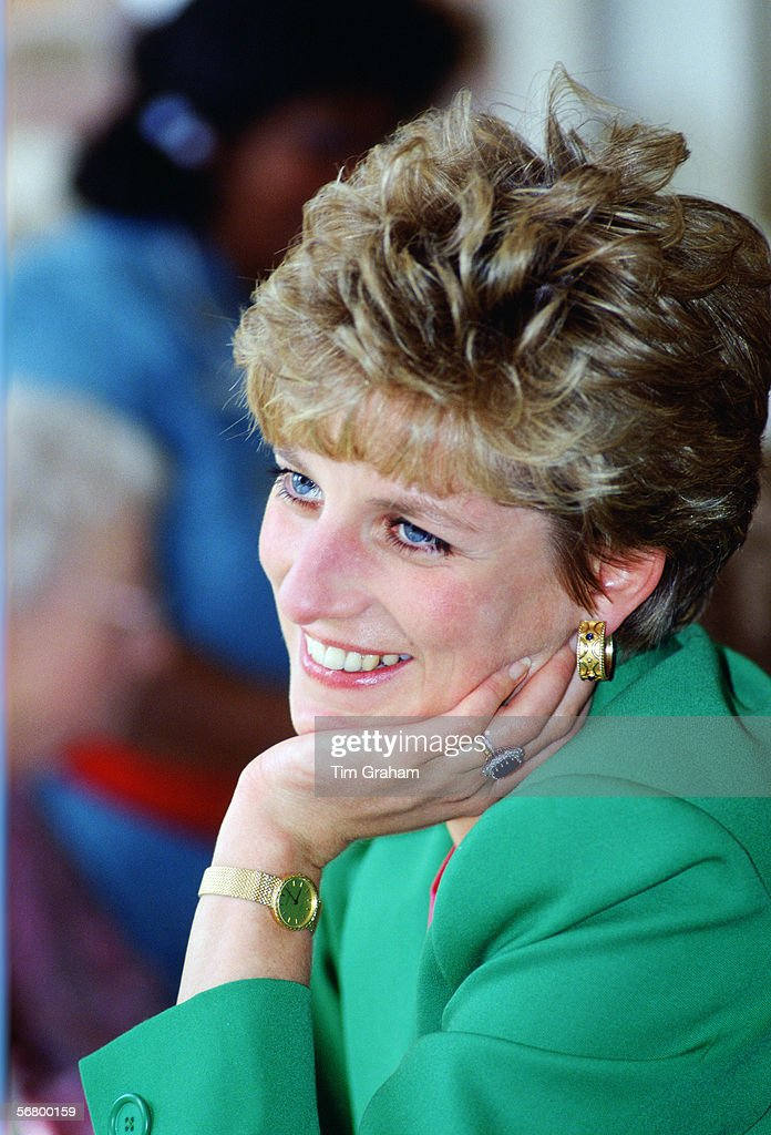 Princess Diana in Derbyshire during a visit to a care centre.