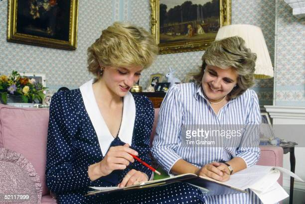 Princess Diana In Her Sitting Room At Home In Kensington Palace With Anne Beckwithsmith Her Ladyinwaiting And Private Secretary