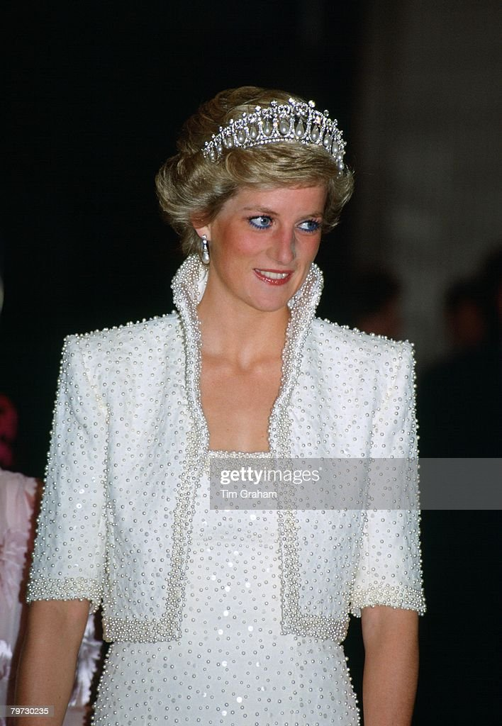 Princess Diana in Hong Kong, wears an outfit described as th : News Photo