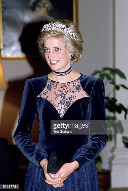Princess Diana In Melbourne Attending A State Dinner At Government House During A Royal Tour Of Australia She Is Wearing The Spencer Tiara