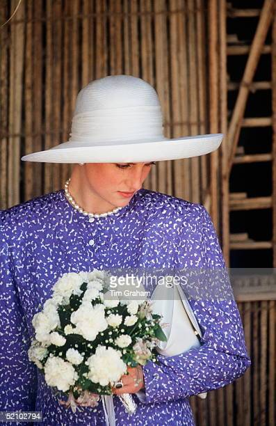 Princess Diana In Oman During Her Visit To The Gulf States She is wearing a hat by Philip Somerville
