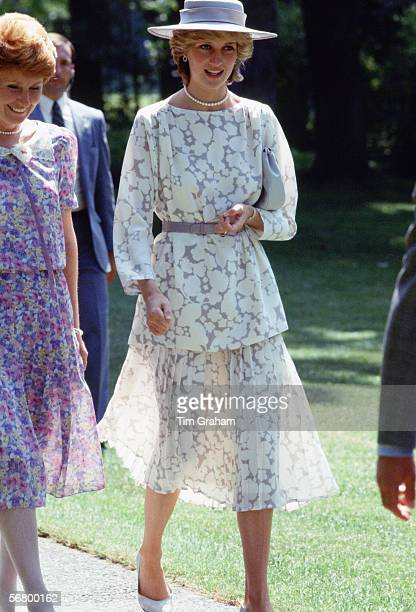 Princess Diana in Ottawa Canada during an official visit Thwe Princess wears a seethrough suit designed by Jasper Conran