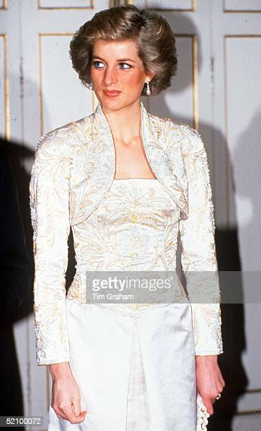 Princess Diana In Paris At A Dinner Hosted By President Mitterrand At The Elysee Palace Wearing A Dress Designed By Fashion Designer Victor Edelstein