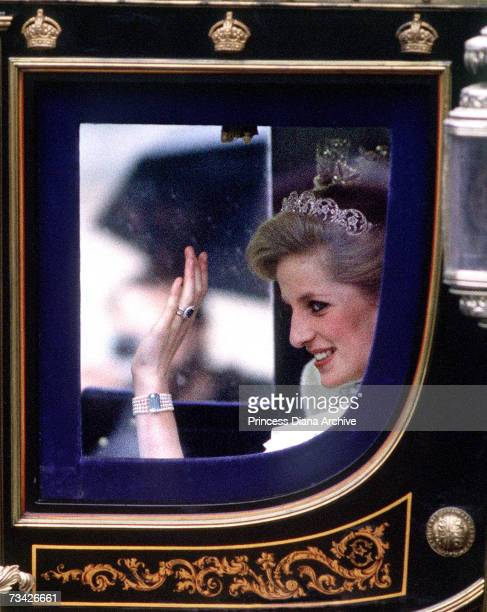 Princess Diana in the Irish State Coach on her way to the State Opening Of Parliament London November 1984 She is wearing the Spencer family tiara
