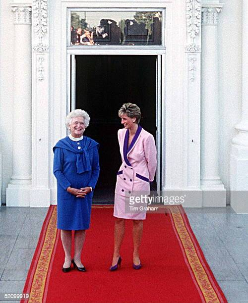 Princess Diana In Washington With First Lady Barbara Bush During Her Official Tour The Princess Is Wearing A Pink Suit Trimmed With Purple Designed...