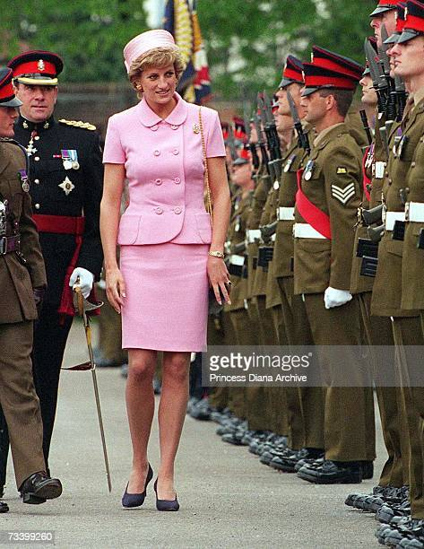 Princess Diana inspecting members of the Queen's and Royal Hampshire Regiment during a visit to Howe Barracks Canterbury Kent May 1995 She is wearing...