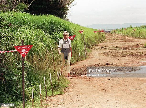 Princess Diana is seen walking to promote her campaign against the use of landmines in January 1997 in Anglola