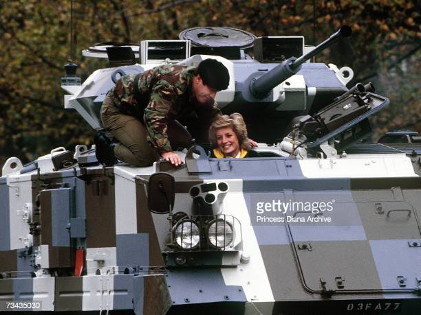 Princess Diana is shown how to drive a tank during a twoday visit to the 1st Battalion the Royal Hampshire Regiment in Berlin October 1985