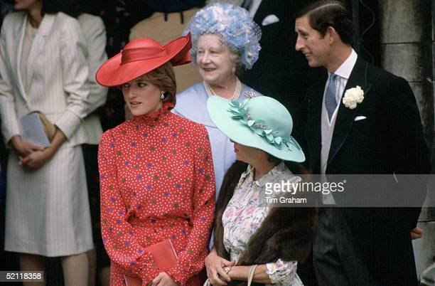 Princess Diana Joining Prince Charles The Queen Mother And Princess Margaret For The Wedding Of Nicholas Soames In London