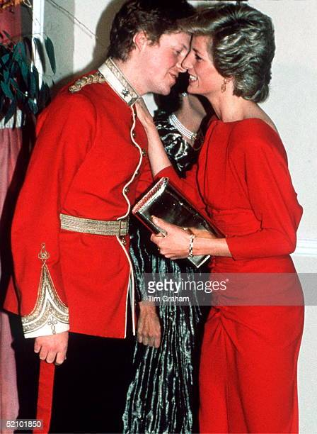 Princess Diana Kissing Her Brother Viscount Althorp At The Birthright Red Ball In London Raising Funds For The Charity Birthright Of Which She Is...