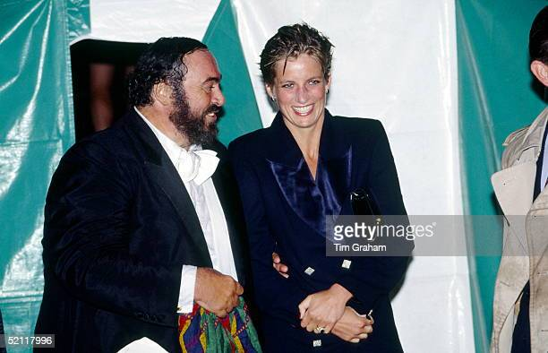 Princess Diana Laughing With Pavarotti Backstage At A Concert In Hyde Park