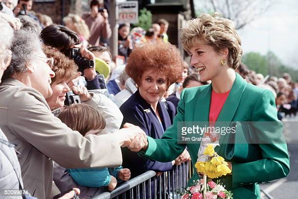 Princess Diana Laughing With People In The Crowd And Shaking Hands During A Walkabout In Derbyshire