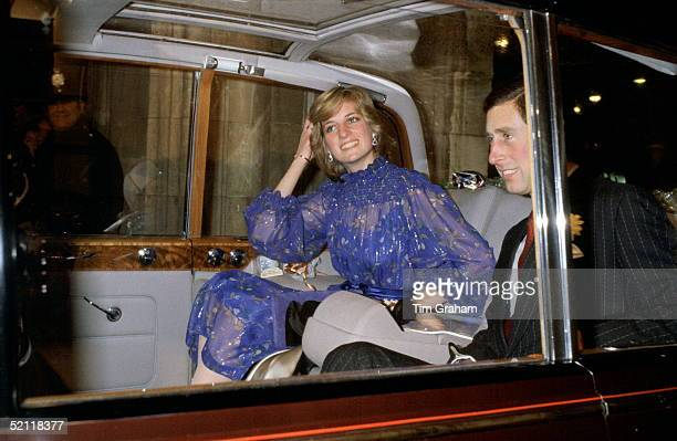 Princess Diana Leaving Cardiff City Hall By Car With Prince Charles After Delivering A Speech In Welsh