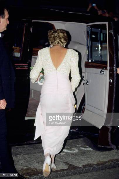 Princess Diana Leaving The Dominion Theatre Where She Has Just Attended The Royal Variety Performance Her Dress Is By Designer Catherine Walker