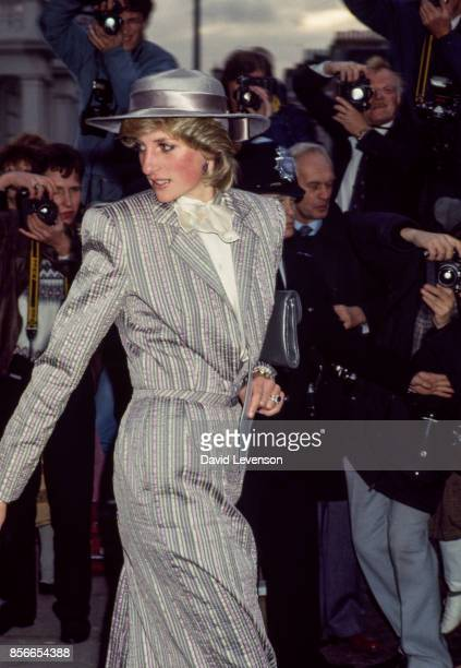 Princess Diana leaving the wedding of her former flatmate Anne Bolton in Chelsea London on October 28 1983