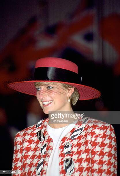 Princess Diana Looking Happy And Smiling During A Royal Tour In Canada She Is Wearing A Red And Black Houndstooth Suit Designed By Fashion Designer...