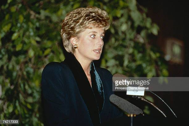 Princess Diana makes a speech announcing her resignation from public duties during a charity lunch at the Hilton Hotel London 3rd December 1993 She...