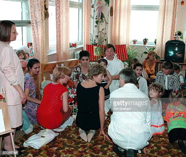 Princess Diana Meeting Children And Their Mothers In Moscow During Her Visit To Russia.