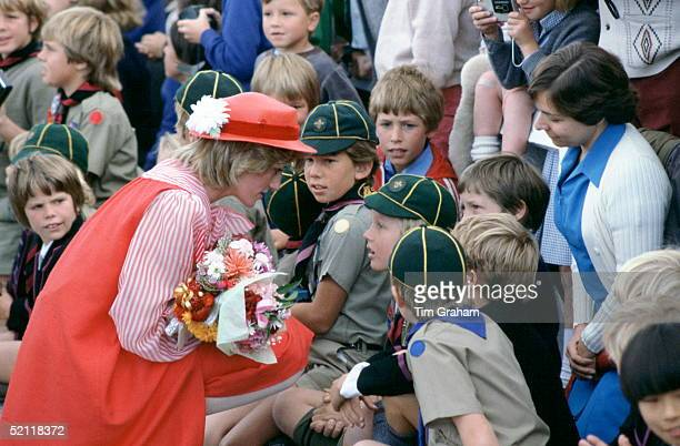 Princess Diana Meeting Cub Scouts In Hobart, Australia And Wearing An Outfit Designed By Fashion Designers Bellville Sassoon