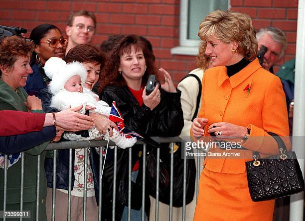 Princess Diana meeting the public after a visit to the Liverpool Women's Hospital November 1995