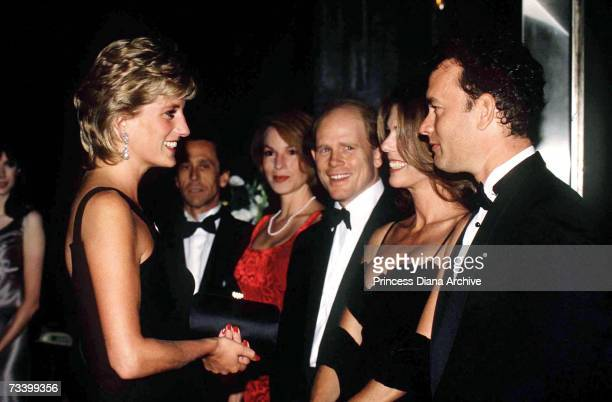 Princess Diana meets American actor Tom Hanks, his wife Rita Wilson and director Ron Howard at the London premiere of 'Apollo 13', September 1995.