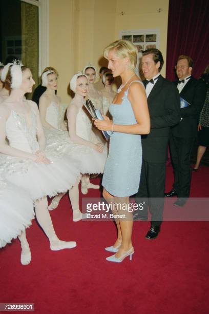 Princess Diana meets members of the cast of an English National Ballet production of 'Swan Lake' at the Royal Albert Hall London 3rd June 1997 On the...