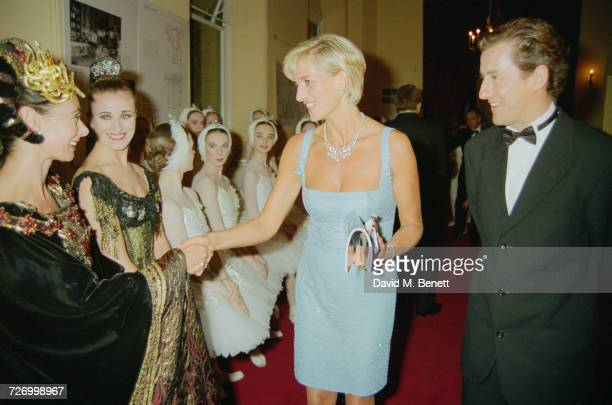 Princess Diana meets members of the cast of an English National Ballet production of 'Swan Lake', at the Royal Albert Hall, London, 3rd June 1997. On...