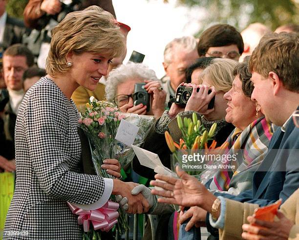 Princess Diana meets members of the public before opening the Foundation for Conductive Education for the disabled in Birmingham October 1995