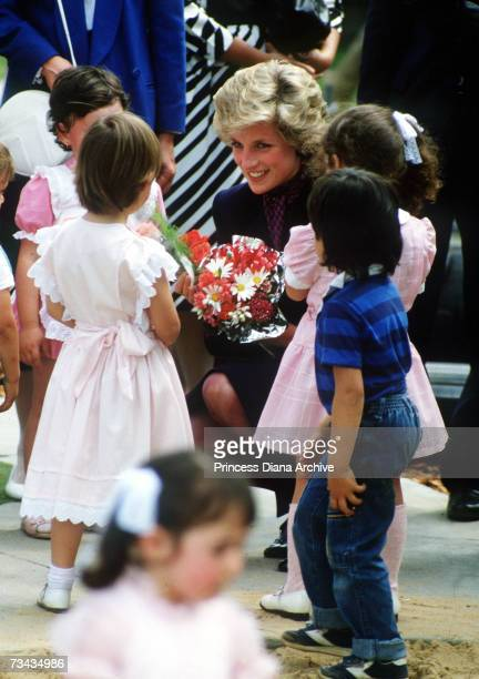 Princess Diana meets the children at a playschool in Melbourne October 1985
