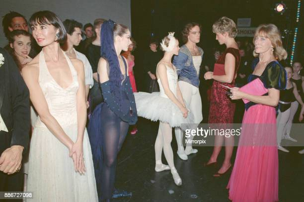 Princess Diana meets the mini ballet stars at Her Majesty's Theatre Haymarket London at a charity function in support of the AIDs virus A young...