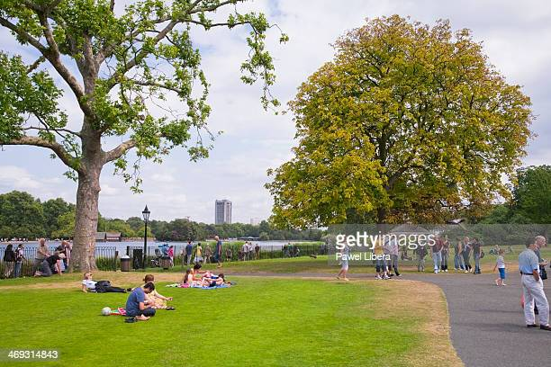 Princess Diana Memorial Fountain and The Serpentine in London's Hyde Park in summer