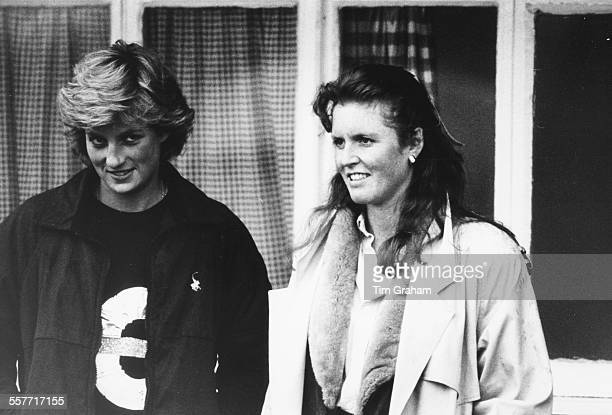 Princess Diana of Wales and Sarah Ferguson Duchess of York wives of Prince Charles and Prince Andrew respectively at a polo match in Windsor May 17th...