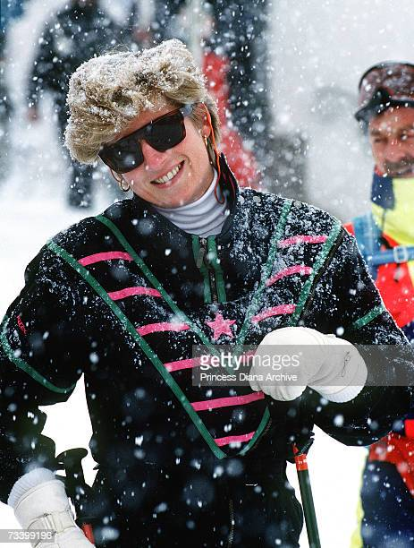 Princess Diana on a skiing holiday in Lech Austria March 1993