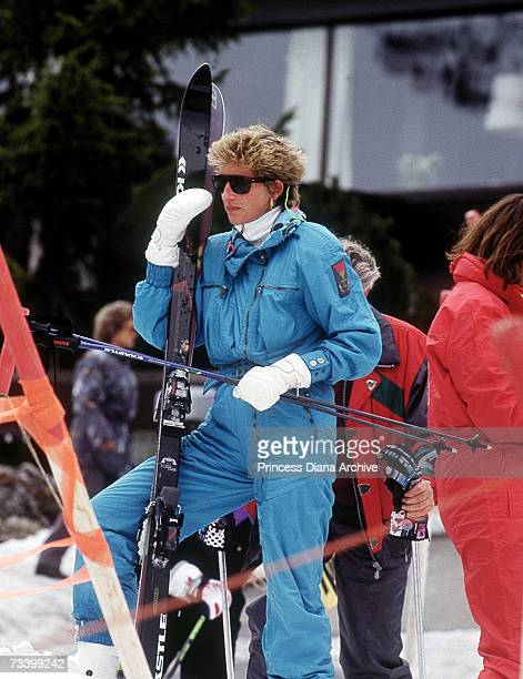 Princess Diana on a skiing holiday in Lech Austria March 1994