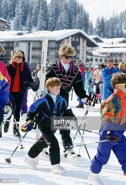 Princess Diana on a skiing holiday with Prince Harry in Lech Austria