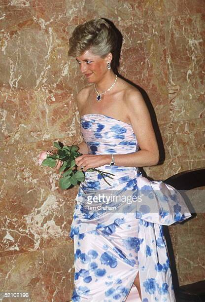 Princess Diana On A Visit To Australia In Janauary 1988 For The Bicentennial Wearing A Silk Tafetta Strapless Evening Dress Designed By Fashion...